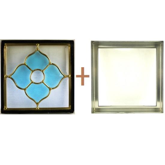 ステンド グラス ステンドグラス ガラス 三層パネル窓ドア枠セットsgsq203f(取寄品、別途送料必ず発生、割引不可、キャンセル返品不可、突然終了あり)