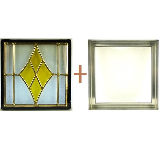 ステンド グラス ステンドグラス ガラス 三層パネル窓ドア枠セットsgsq205f(取寄品、別途送料必ず発生、割引不可、キャンセル返品不可、突然終了あり)