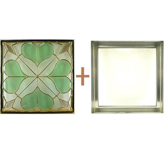 ステンド グラス ステンドグラス ガラス 三層パネル窓ドア枠セットsgsq401f(取寄品、割引不可、キャンセル返品不可、突然終了あり)