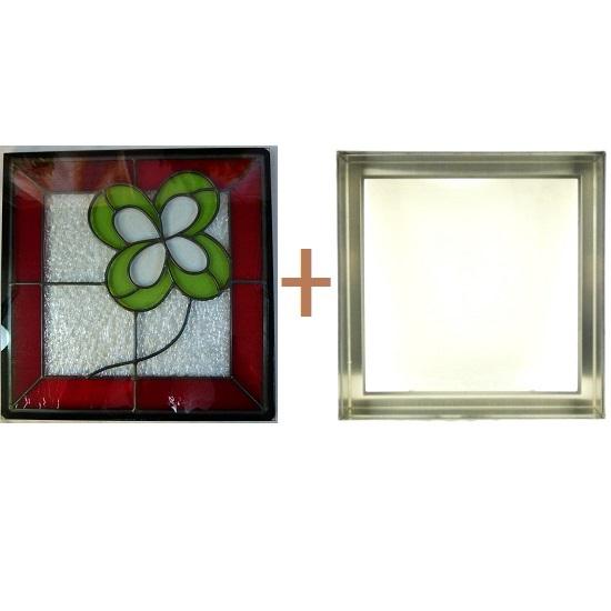 ステンド グラス ステンドグラス ガラス 三層パネル窓ドア枠セットsgsq405f(取寄品、割引不可、キャンセル返品不可、突然終了あり)
