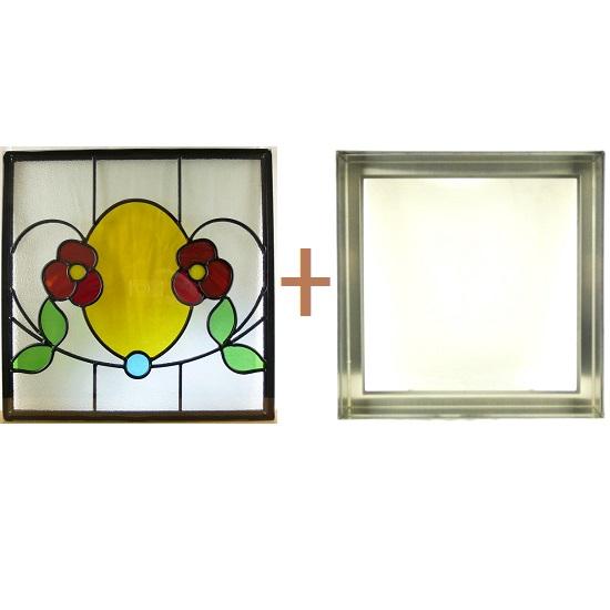 ステンド グラス ステンドグラス ガラス 三層パネル窓ドア枠セットsgsq408f(取寄品、割引不可、キャンセル返品不可、突然終了あり)