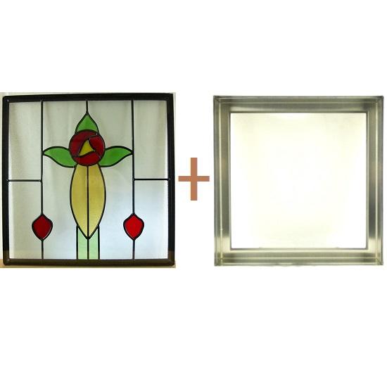 ステンド グラス ステンドグラス ガラス 三層パネル窓ドア枠セットsgsq415f(取寄品、割引不可、キャンセル返品不可、突然終了あり)