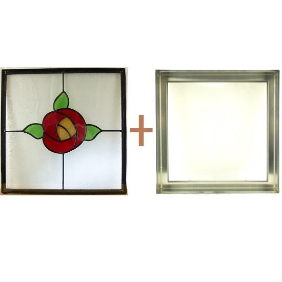 ステンド グラス ステンドグラス ガラス 三層パネル窓ドア枠セットsgsq419f(取寄品、割引不可、キャンセル返品不可、突然終了あり)