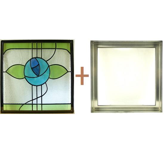 ステンド グラス ステンドグラス ガラス 三層パネル窓ドア枠セットsgsq422f(取寄品、割引不可、キャンセル返品不可、突然終了あり)