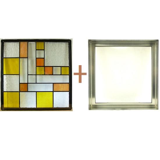 ステンド グラス ステンドグラス ガラス 三層パネル窓ドア枠セットsgsq423f(取寄品、割引不可、キャンセル返品不可、突然終了あり)