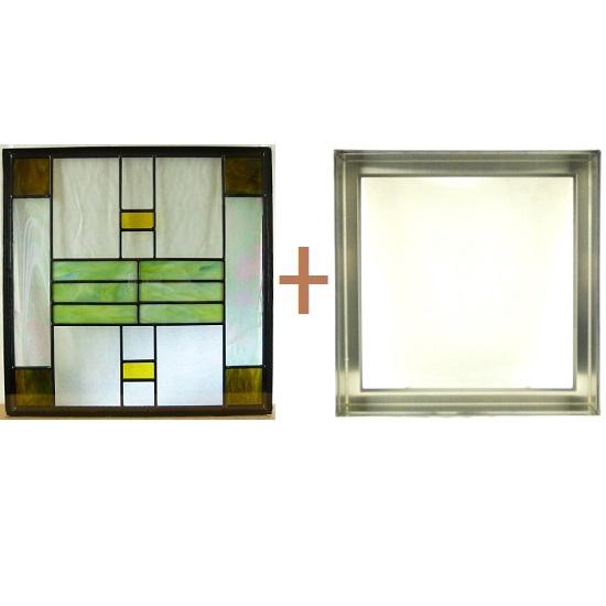 ステンド グラス ステンドグラス ガラス 三層パネル窓ドア枠セットsgsq426f(取寄品、割引不可、キャンセル返品不可、突然終了あり)
