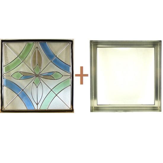 ステンド グラス ステンドグラス ガラス 三層パネル窓ドア枠セットsgsq427f(取寄品、割引不可、キャンセル返品不可、突然終了あり)