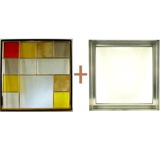 ステンド グラス ステンドグラス ガラス 三層パネル窓ドア枠セットsgsq431f(取寄品、割引不可、キャンセル返品不可、突然終了あり)
