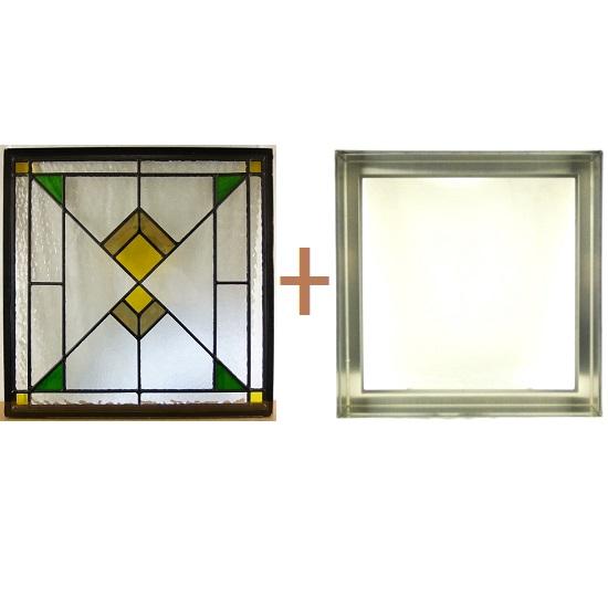ステンド グラス ステンドグラス ガラス 三層パネル窓ドア枠セットsgsq432f(取寄品、割引不可、キャンセル返品不可、突然終了あり)