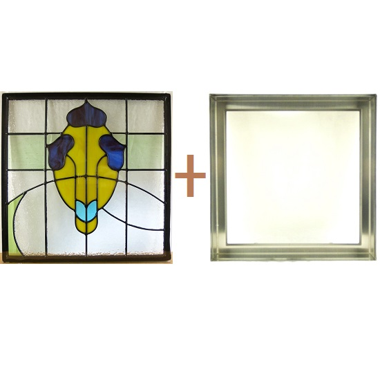 ステンド グラス ステンドグラス ガラス 三層パネル窓ドア枠セットsgsq433f(取寄品、割引不可、キャンセル返品不可、突然終了あり)