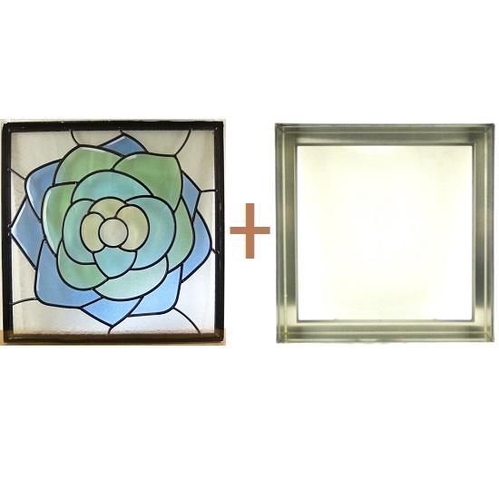 ステンド グラス ステンドグラス ガラス 三層パネル窓ドア枠セットsgsq434f(取寄品、割引不可、キャンセル返品不可、突然終了あり)