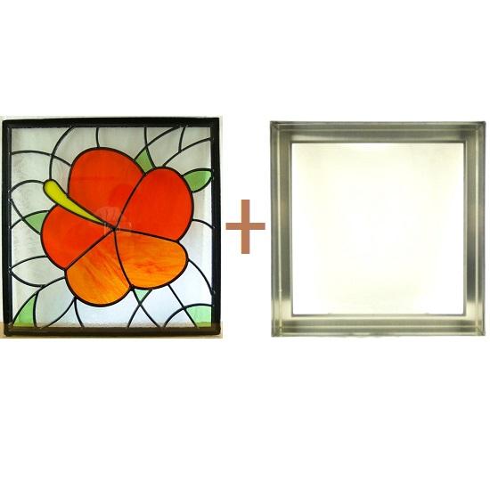 ステンド グラス ステンドグラス ガラス 三層パネル窓ドア枠セットsgsq435f(取寄品、割引不可、キャンセル返品不可、突然終了あり)