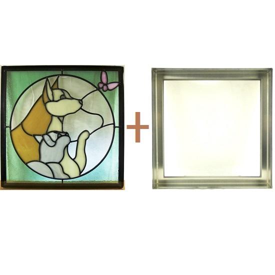 ステンド グラス ステンドグラス ガラス 三層パネル窓ドア枠セットsgsq436f(取寄品、割引不可、キャンセル返品不可、突然終了あり)