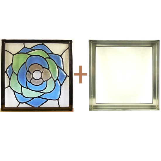 ステンド グラス ステンドグラス ガラス 三層パネル窓ドア枠セットsgsq306f(取寄品、割引不可、キャンセル返品不可、突然終了あり)