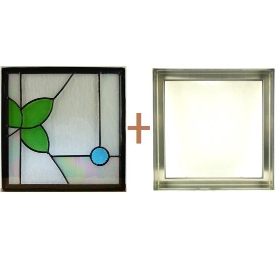 ステンド グラス ステンドグラス ガラス 三層パネル窓ドア枠セットsgsq307f(取寄品、割引不可、キャンセル返品不可、突然終了あり)