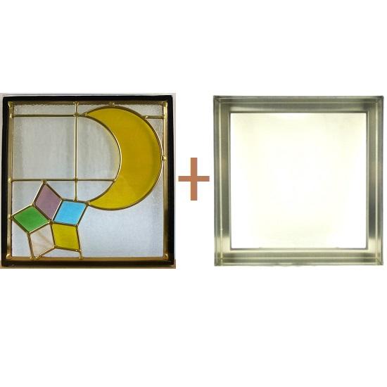 ステンド グラス ステンドグラス ガラス 三層パネル窓ドア枠セットsgsq309f(取寄品、割引不可、キャンセル返品不可、突然終了あり)