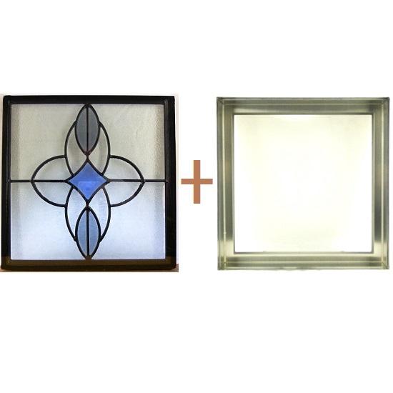 ステンド グラス ステンドグラス ガラス 三層パネル窓ドア枠セットsgsq312f(取寄品、割引不可、キャンセル返品不可、突然終了あり)