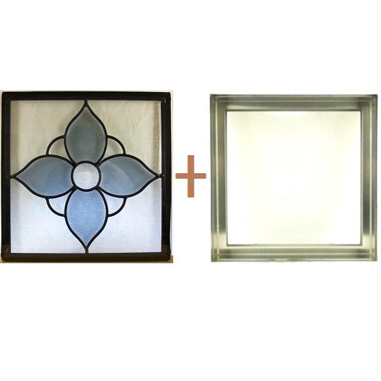 ステンド グラス ステンドグラス ガラス 三層パネル窓ドア枠セットsgsq313f(取寄品、割引不可、キャンセル返品不可、突然終了あり)