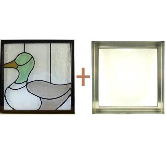 ステンド グラス ステンドグラス ガラス 三層パネル窓ドア枠セットsgsq314f(取寄品、割引不可、キャンセル返品不可、突然終了あり)