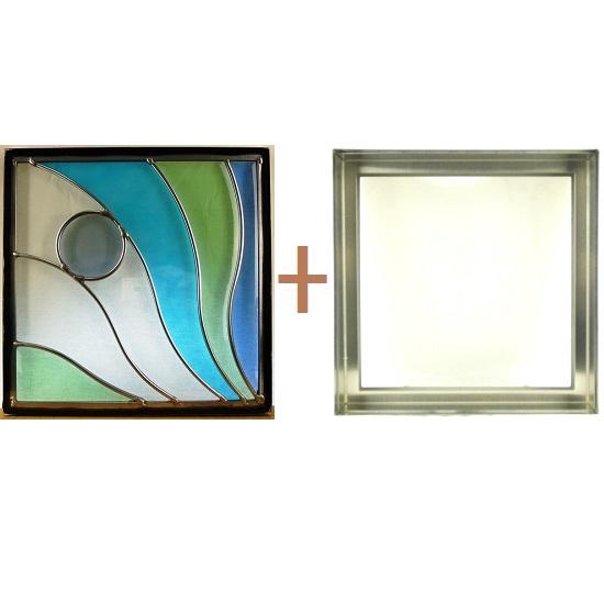 ステンド グラス ステンドグラス ガラス 三層パネル窓ドア枠セットsgsq315f(取寄品、割引不可、キャンセル返品不可、突然終了あり)
