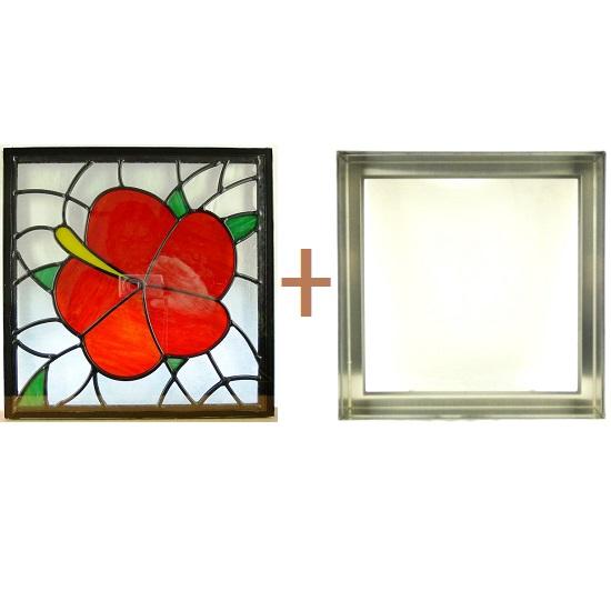 ステンド グラス ステンドグラス ガラス 三層パネル窓ドア枠セットsgsq316f(取寄品、割引不可、キャンセル返品不可、突然終了あり)