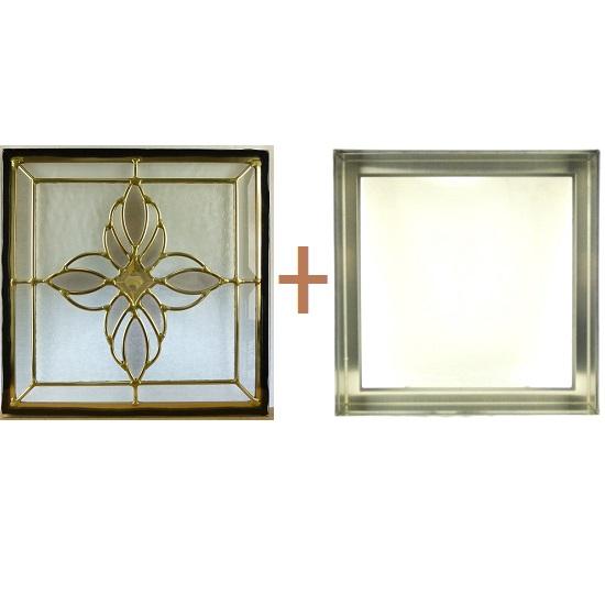 ステンド グラス ステンドグラス ガラス 三層パネル窓ドア枠セットsgsq317f(取寄品、割引不可、キャンセル返品不可、突然終了あり)