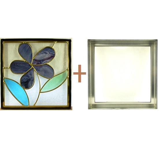 ステンド グラス ステンドグラス ガラス 三層パネル窓ドア枠セットsgsq319f(取寄品、割引不可、キャンセル返品不可、突然終了あり)