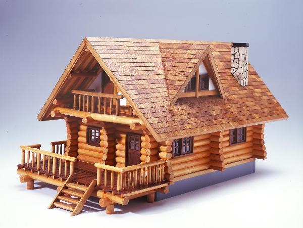 大感謝価格『1/24『ログハウス』木製模型(w)』送料無料『メーカー直送品。代引不可・同梱不可・返品キャンセル・割引不可』 ログ(丸太)の組み方は、ラウンドノッチ方式。
