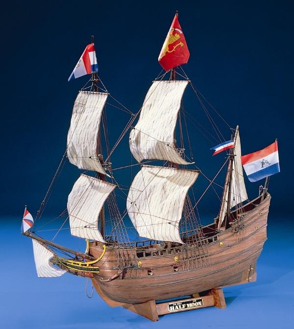 大感謝価格『木製帆船模型1/40『ハーフムーン』(w)』送料無料『メーカー直送品。代引不可・同梱不可・返品キャンセル・割引不可』 オランダ東インド会社の依頼で北米大陸沿岸を探検航海する。