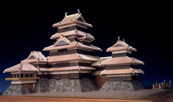 大感謝価格『木製建築模型 1/150 松本城 (w)』送料無料『メーカー直送品。代引・・同梱・返品・キャンセル・割引不可』 松本城(深志城)
