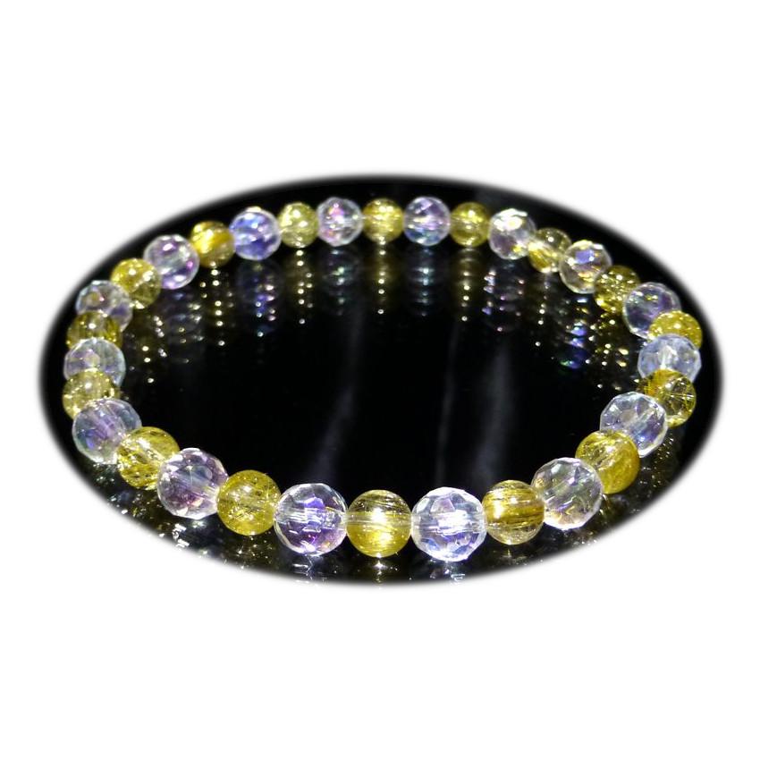 『『FORESTBLUE』ゴールドルチル&水晶 ブレスレット 6mm Type3』ファッション 天然石 ブレスレット 腕輪 送料無料 ポイント
