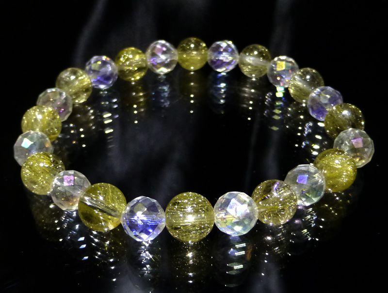 『『FORESTBLUE』ゴールドルチル&水晶 ブレスレット 8mm Type3』ファッション 天然石 ブレスレット 腕輪 送料無料 ポイント