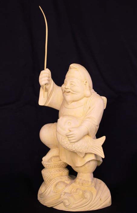 Japanese boxwood carving of oni pair