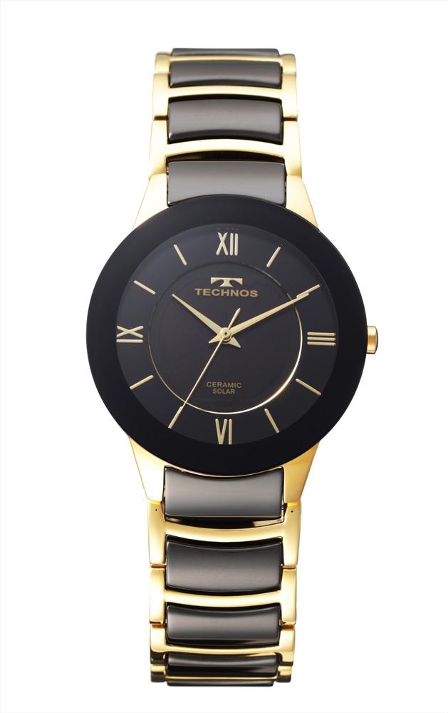 【大感謝価格 】テクノス セラミックソーラー腕時計 ゴールド シルバー