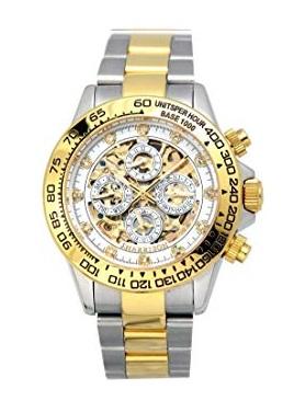 【大感謝価格 】JH-003GW J.HARRISON ジョンハリソン 機械式多機能両面スケルトン時計