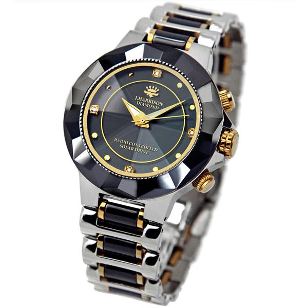 【大感謝価格 】JOHN HARRISON 4石天然ダイヤモンド付 ソーラー電波腕時計 JH-024 紳士用