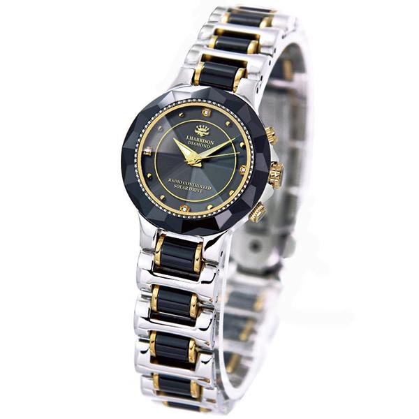 【大感謝価格 】JOHN HARRISON 4石天然ダイヤモンド付 ソーラー電波腕時計 JH-024 婦人用