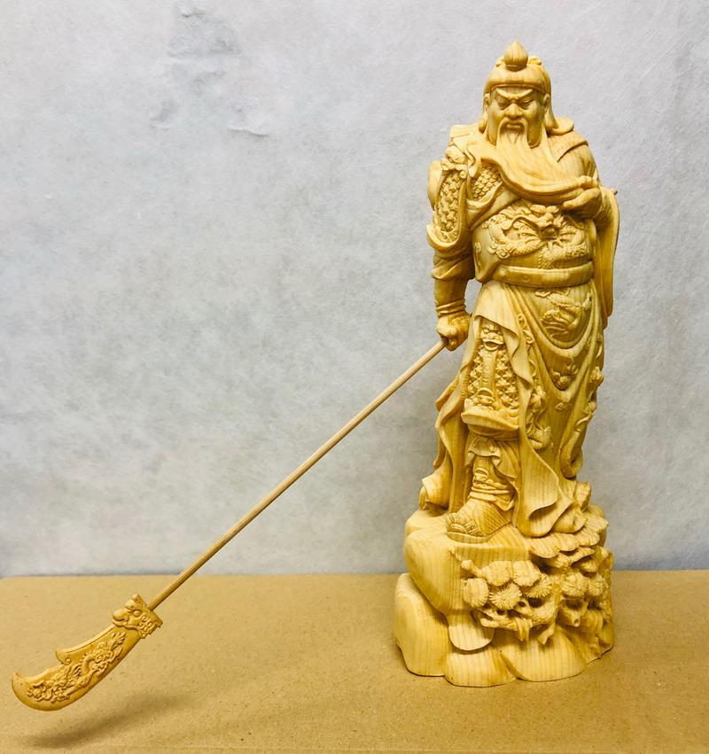 【大感謝価格 】黄楊一杢彫り 関羽像
