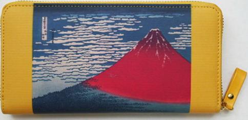 【大感謝価格 】北斎の富嶽二景財布&パスポート入れ K12461