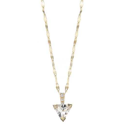 【大感謝価格】マレア リッチ Marea rich 13KJ-10A K10×ストーン トライアングル ネックレス ペンダント Natural Triangle White Necklace