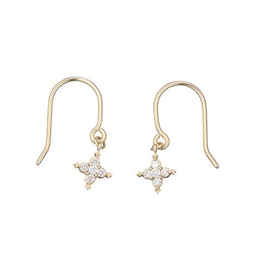 【大感謝価格】マレア リッチ Marea rich 16KJ-04 K10×ダイヤモンド(天然石) スターモチーフ フック ピアス Precious Star Pierced Earrings