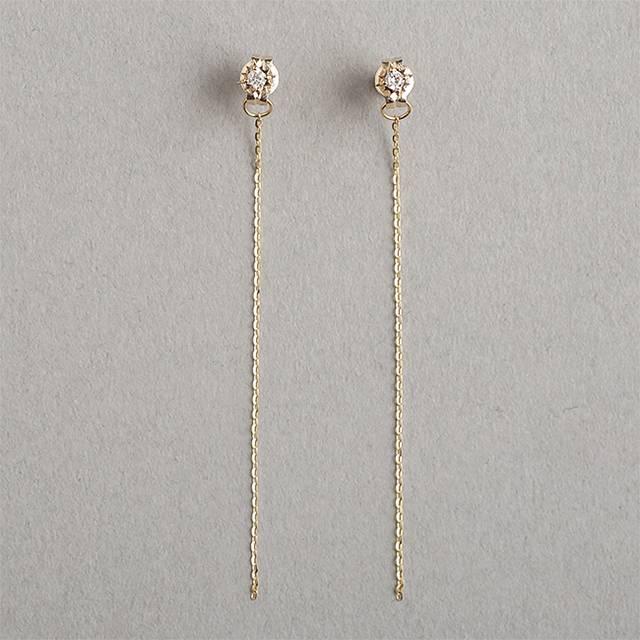 【大感謝価格】マレア リッチ Marea rich 18KJ-03 K10×ダイヤモンド(天然石) チェーン ピアス Precious Collection
