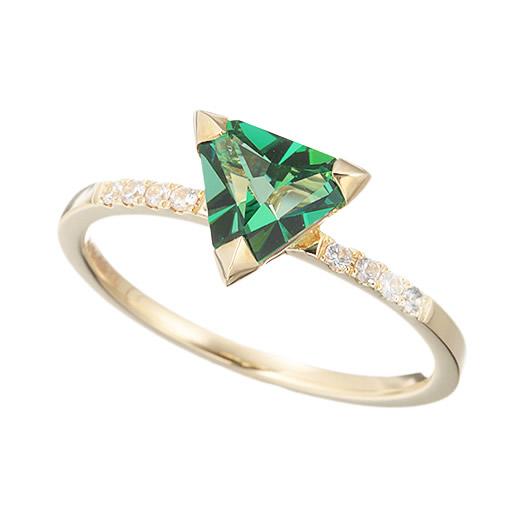 【大感謝価格】マレア リッチ Marea rich 13KJ-09B K10×ストーン トライアングル リング 指輪 10号 Natural Triangle Green Ring