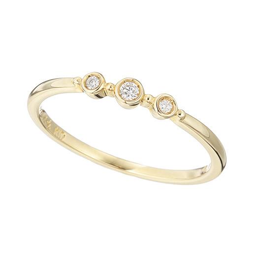 【大感謝価格】マレア リッチ Marea rich 14KJ-17 K10×ダイヤモンド(天然石) 3粒ダイア リング 指輪 10号 Precious Standard Ring