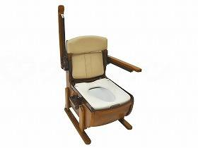 【メーカー直送】ウェルファン家具調ポータブルトイレ スリムレットEX 肘掛跳ね上げ-標準便座【別途送料発生は連絡します、割引キャンセル返品不可】