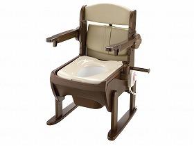 【メーカー直送】リッチェル木製きらく片付け簡単トイレ 肘掛跳ね上げ-やわらか便座19225【別途送料発生は連絡します、割引キャンセル返品不可】