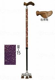 【メーカー直送】アシストインターナショナル雅・6点杖M-15紫地菊地紋小桜右手用AJ387【別途送料発生は連絡します、割引キャンセル返品不可】