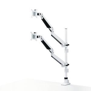 【即納】サンワサプライ 水平垂直多関節液晶モニターアーム(上下2面・ホワイト) CR-LA1303WN