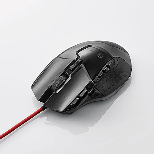 エレコム ゲーミングマウス/光学式/ハードウェアマクロ搭載/16000dpi/重量バランス調整可能/セラミックソール/13ボタン/有線/ブラック [M-G02URBK]
