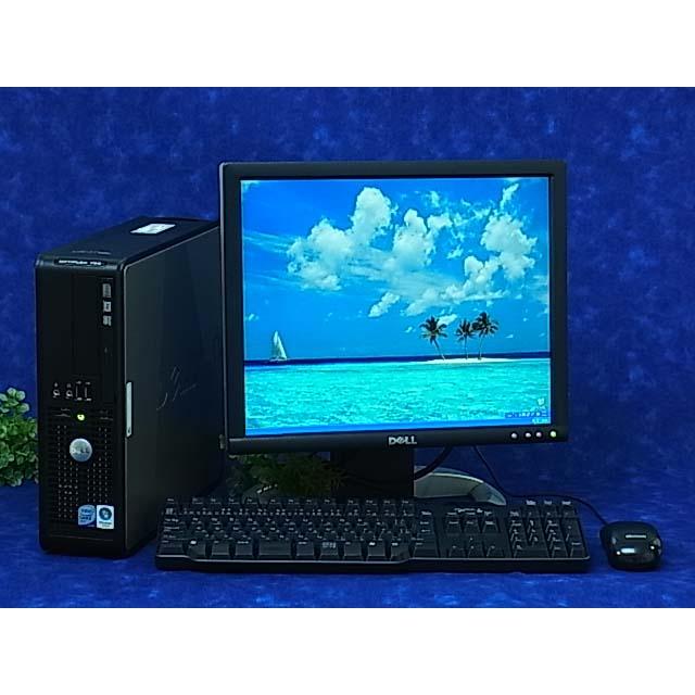 【中古】代引可 モニターセット 高速 CPU E8400 3GHz 大容量 4GB/500GB/DVDマルチ搭載 DELL 755